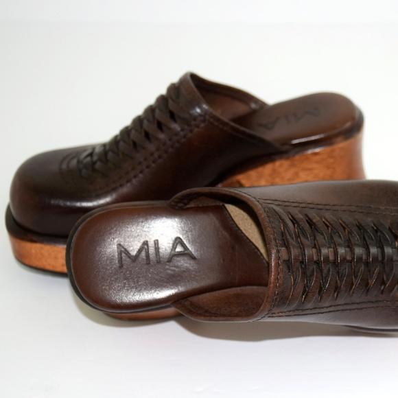 5cb6c322c7c8 Mia Clogs Vintage Shoes 5 Platform Woven Leather. M 5a525efc36b9dee638013513